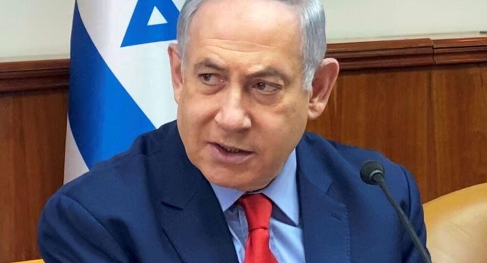 Primeiro-ministro israelense Benjamin Netanyahu durante reunião semanal do gabinete em Jerusalém, 26 de janeiro de 2020
