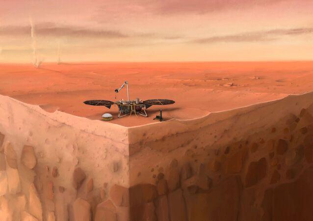 Sonda InSight da NASA sobre camadas do subsolo de Marte (imagem ilustrativa)