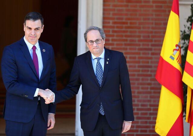 O chefe de governo espanhol, Pedro Sánchez, e o lider catalão Quim Torra