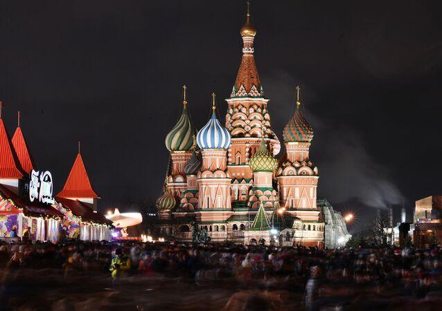 Praça Vermelha, no centro da capital russa, Moscou, durante as celebrações de ano novo, em 1º de janeiro de 2020