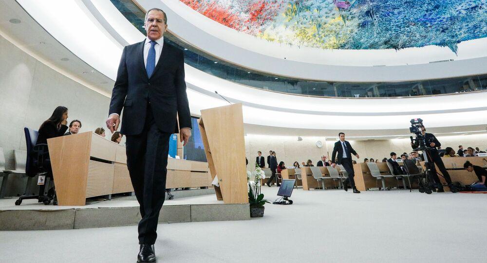 Chanceler russo, Sergey Lavrov, durante a 43ª sessão do Conselho de Direitos Humanos da ONU em Genebra, Suíça
