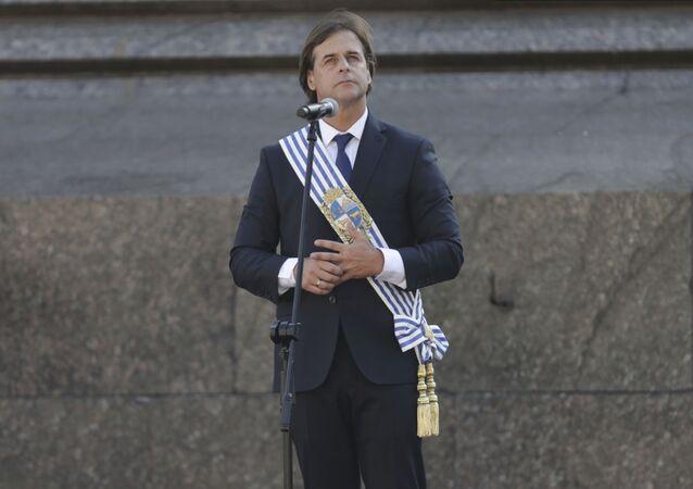 Luis Lacalle Pou durante seu discurso na cerimônia de posse como novo presidente do Uruguai.