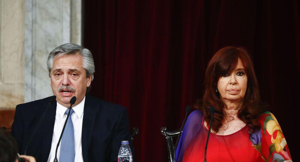 Presidente da Argentina Alberto Fernández e sua vice-presidente Cristina Kirchner