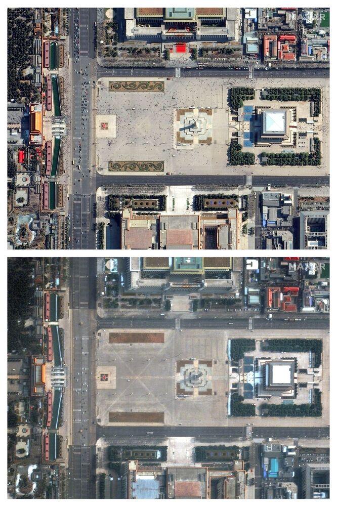 Praça da Paz Celestial, na capital chinesa de Pequim, após receios motivados pelo coronavírus, em 11 de fevereiro de 2020