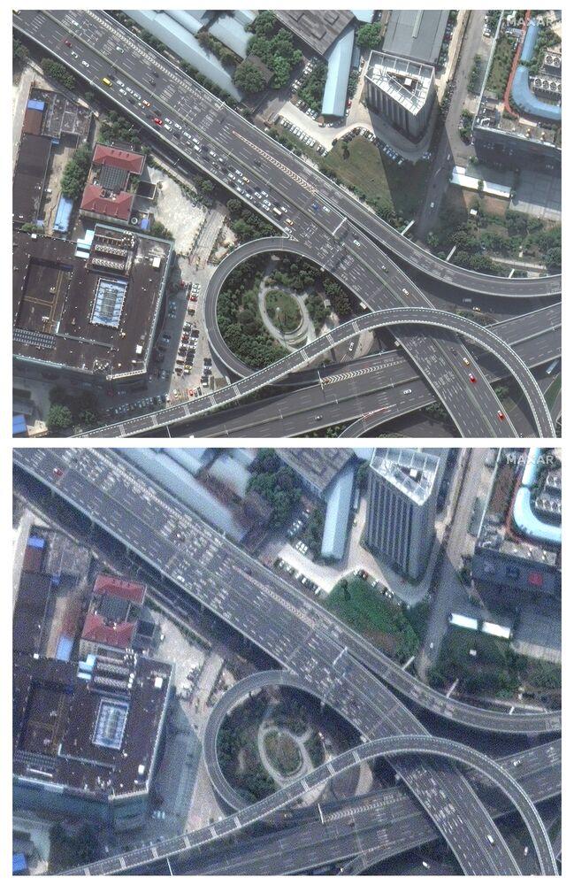 Imagens de satélite de uma estrada em Wuhan, a cidade chinesa que possui mais pacientes infectados pelo coronavírus