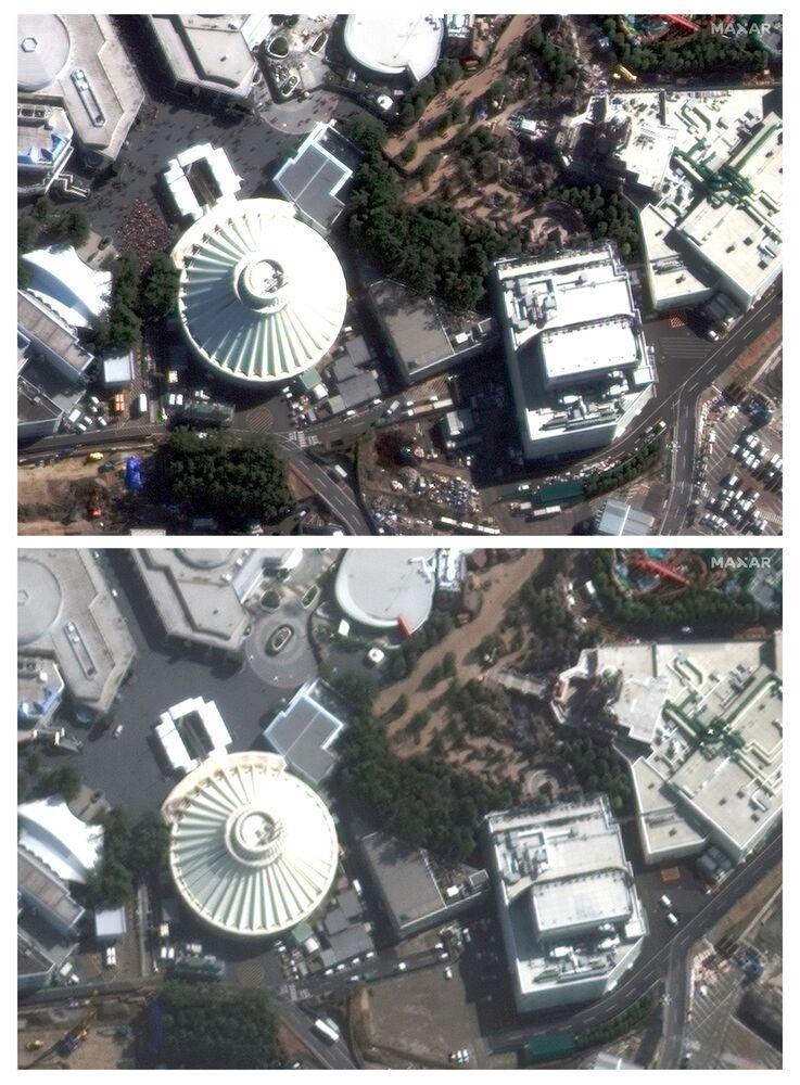 Imagens de satélite demonstram a Disneylândia em Tóquio, no Japão, fechada por medo da propagação do coronavírus