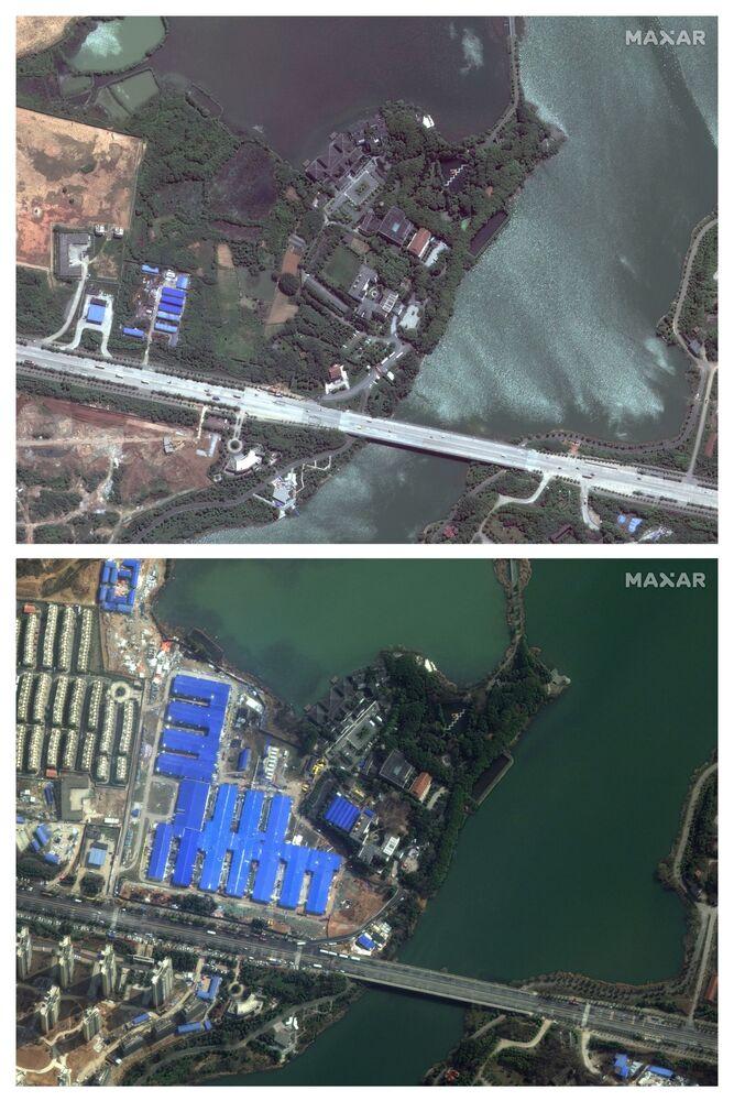 Imagens de satélite do Hospital Houshenshan, construído em Wuhan para lidar com pacientes do coronavírus