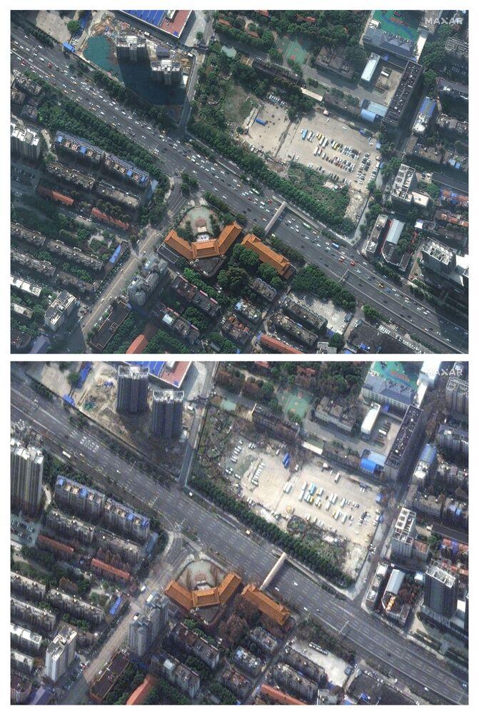 Imagens de satélite demonstram o movimento reduzido de carros em uma estrada na cidade chinesa de Wuhan