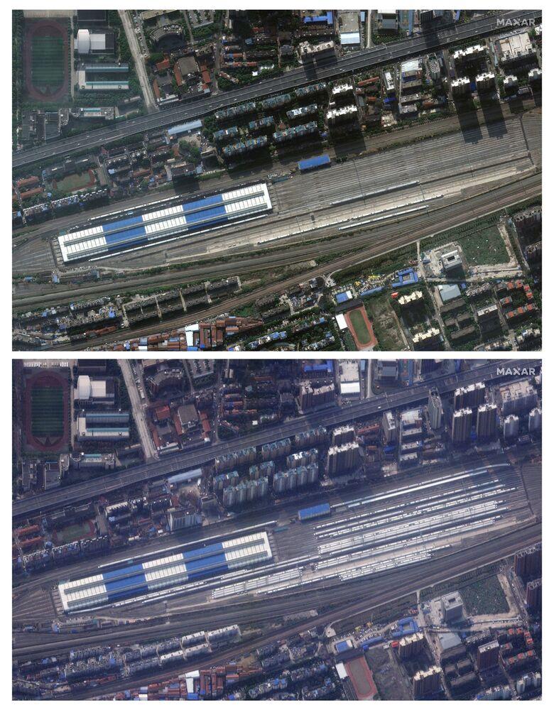 Estação de trem de Wuhan com pouquíssimos trens devido à quarentena, em 25 de fevereiro de 2020