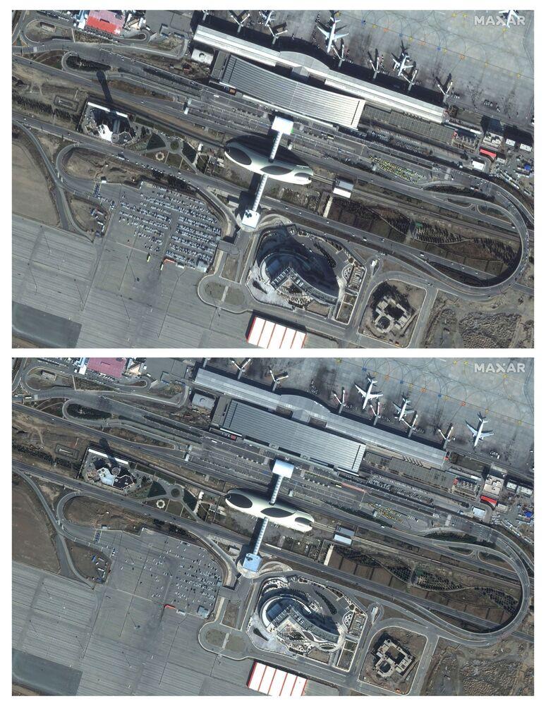 Aeroporto iraniano em Teerã é mostrado em imagens de satélite após o aumento de casos de coronavírus no país