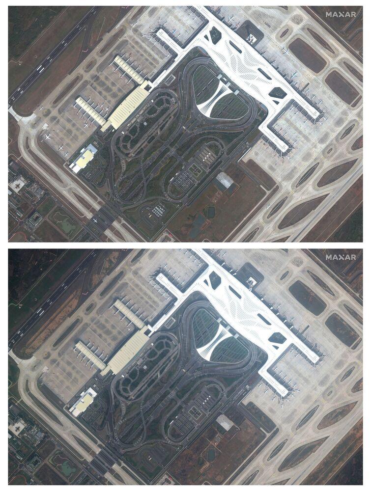 Aeroporto da cidade chinesa de Wuhan antes e depois da quarentena ter sido decretada devido ao coronavírus