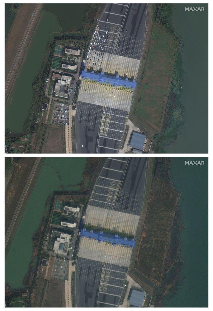 Imagens de satélite demonstram a diminuição do fluxo de carros na cidade chinesa de Wuhan