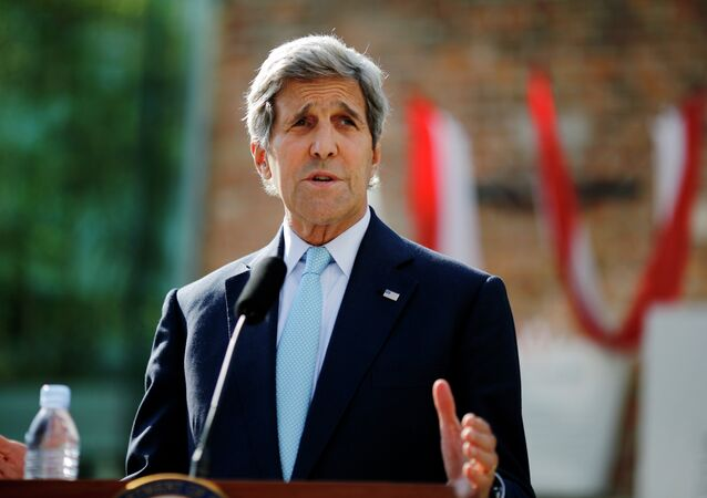 U.S. Secretary of State John Kerry delivers a statement on the Iran talks in Vienna, Austria, Sunday, July 5, 2015