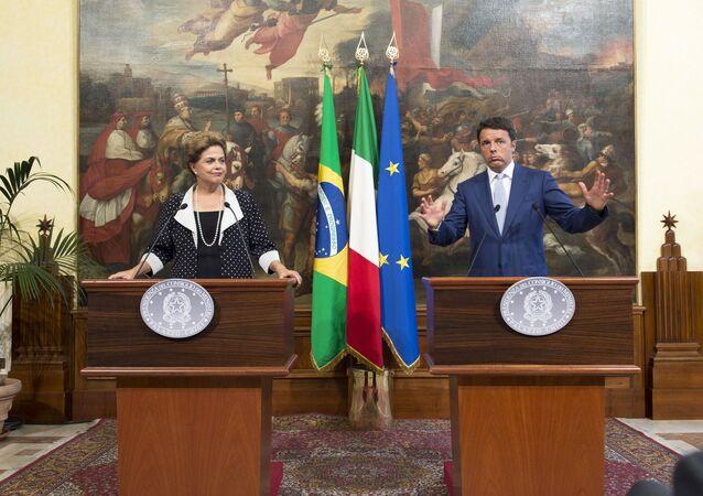 Presidenta Dilma Rousseff durante reunião de trabalho com o Primeiro-Ministro da República Italiana, Matteo Renzi