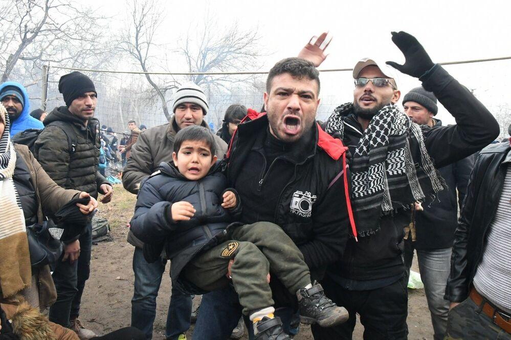 Refugiados na fronteira entre a Grécia e a Turquia