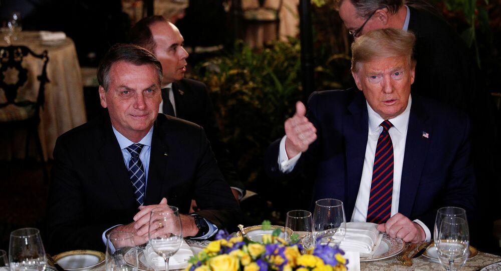 Os presidentes do Brasil, Jair Bolsonaro, e dos EUA, Donald Trump