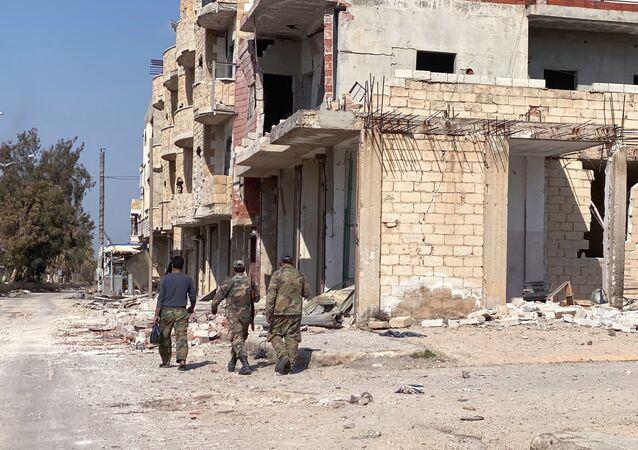 Bairro da cidade de Saraqeb, na província síria de Idlib, libertada pelo Exército sírio