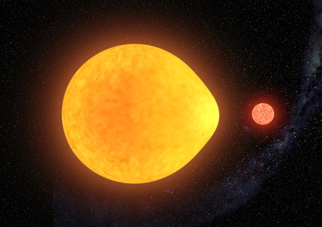 Imagem artística da estrela pulsante HD 74423 com sua companheira anã vermelha