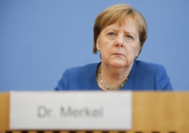 A chanceler alemã, Angela Merkel, durante uma coletiva de imprensa para falar sobre o novo coronavírus.
