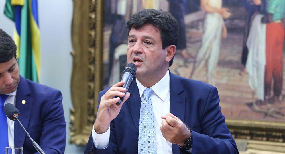 Ministro de Saúde, Luiz Henrique Mandetta, em audiência na Câmara dos Deputados.