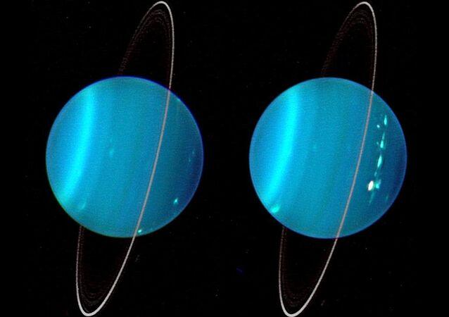 Imagem infravermelho dos dois hemisférios de Urano obtidos com um Telescópio Keck