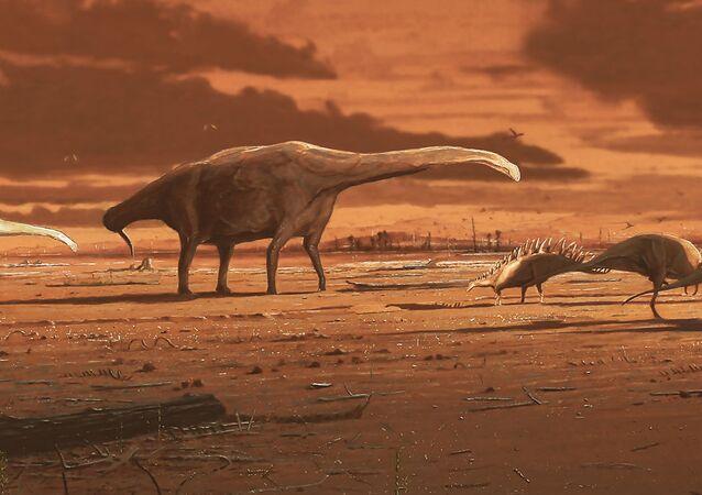 Ilustração artística de dinossauros na ilha escocesa de Skye