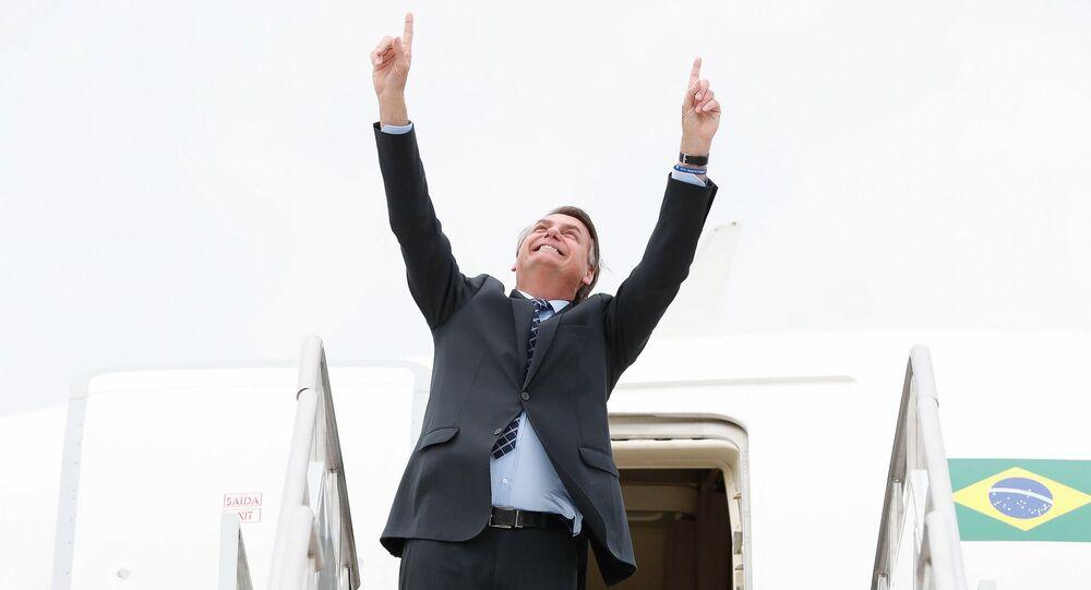 Presidente da República, Jair Bolsonaro durante partida de Jacksonville, nos Estados Unidos.