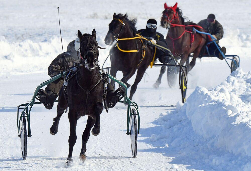 Participantes durante competição com cavalos na região russa de Krasnoyarsk