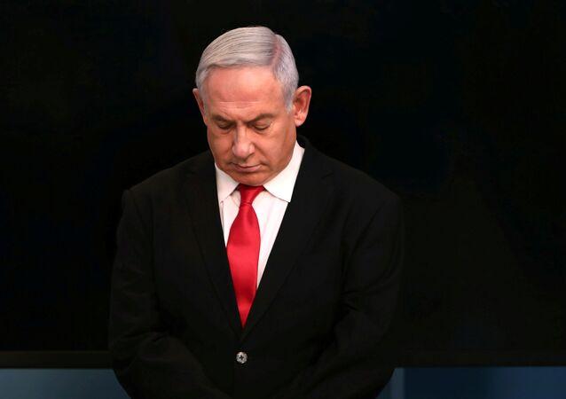 Primeiro-ministro de Israel, Benjamin Netanyahu, durante discurso sobre a propagação do coronavírus, em Jerusalém, em 14 de março de 2020