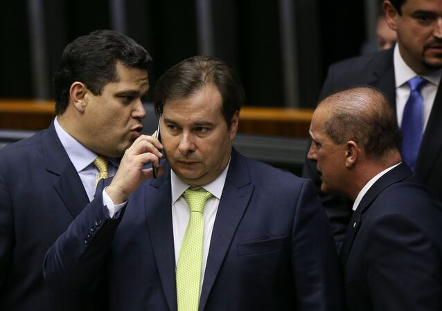 Presidente da Câmara, Rodrigo Maia, em sessão na Câmara dos Deputados