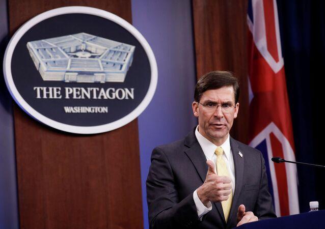 Secretário de Defesa dos EUA, Mark Esper, durante coletiva de imprensa (imagem de arquivo)