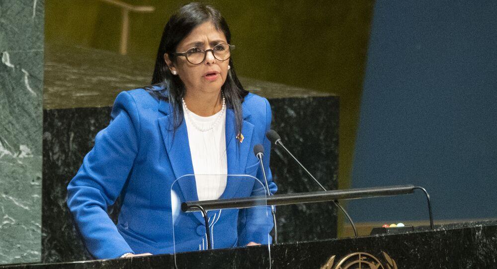 Vice-presidente da Venezuela, Delcy Rodríguez, fala na 74ª sessão da Assembleia Geral das Nações Unidas, 27 de setembro de 2019