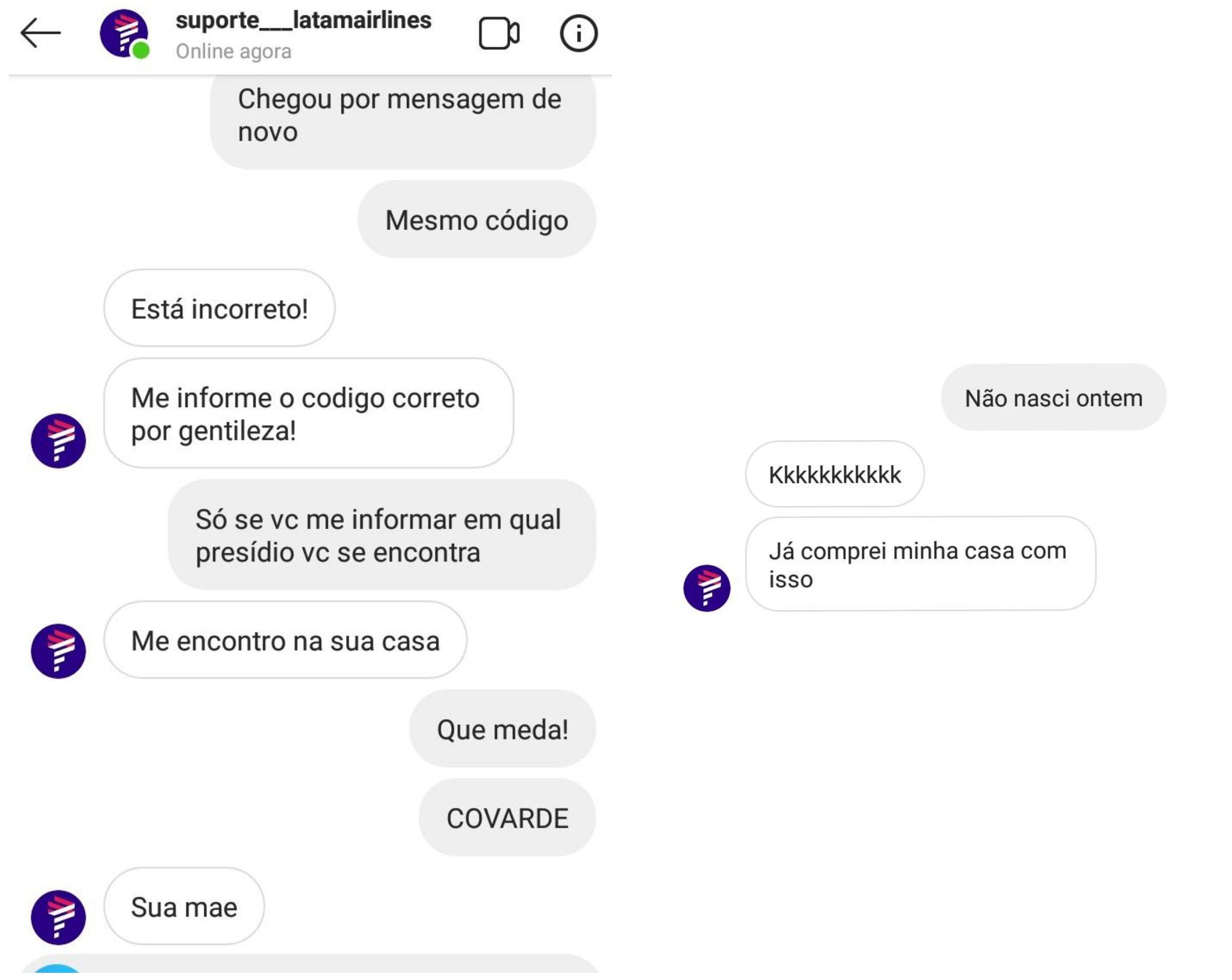 Mensagens enviadas pelo perfil falso, que se passa por um canal de atendimento da LATAM