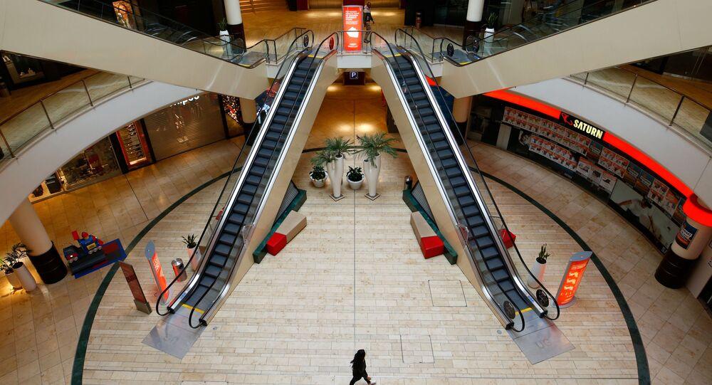 Shopping vazio na cidade alemã de Leverkusen, 20 de março de 2020