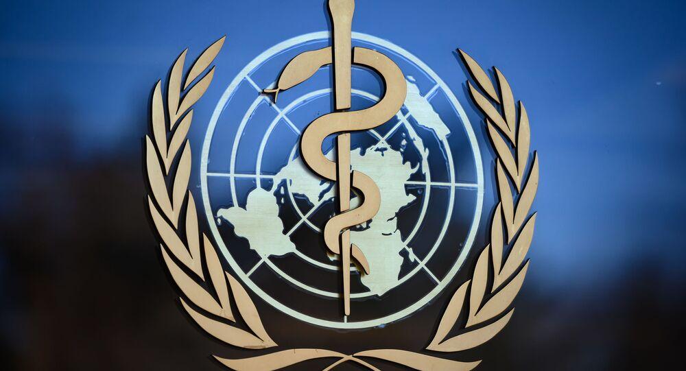 Logotipo da Organização Mundial de Saúde (OMS) em Geneva
