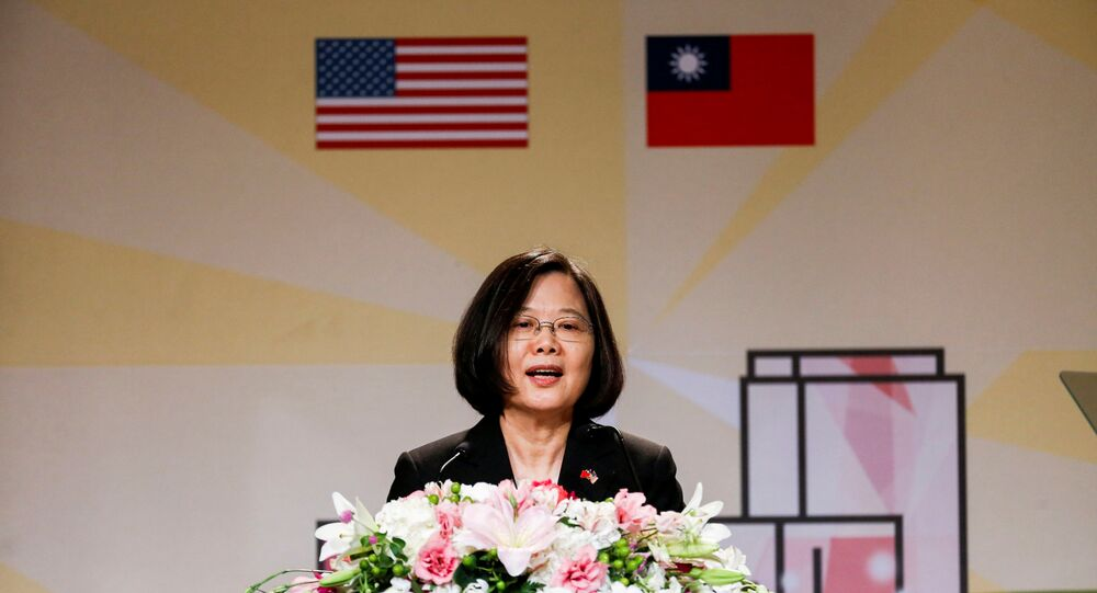 Presidente de Taiwan, Tsai Ing-wen, durante discurso proferido em Los Angeles, na Califórnia (foto de arquivo)