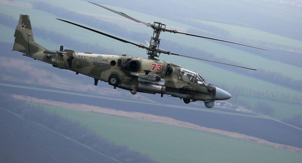 Helicóptero Ka-52 Alligator durante exercícios de voos táticos na região de Krasnodar, Rússia