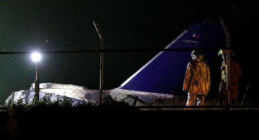 Destroços da aeronave Lion Air na pista de pouso do Aeroporto Internacional de Manila, nas Filipinas, 29 de março de 2020