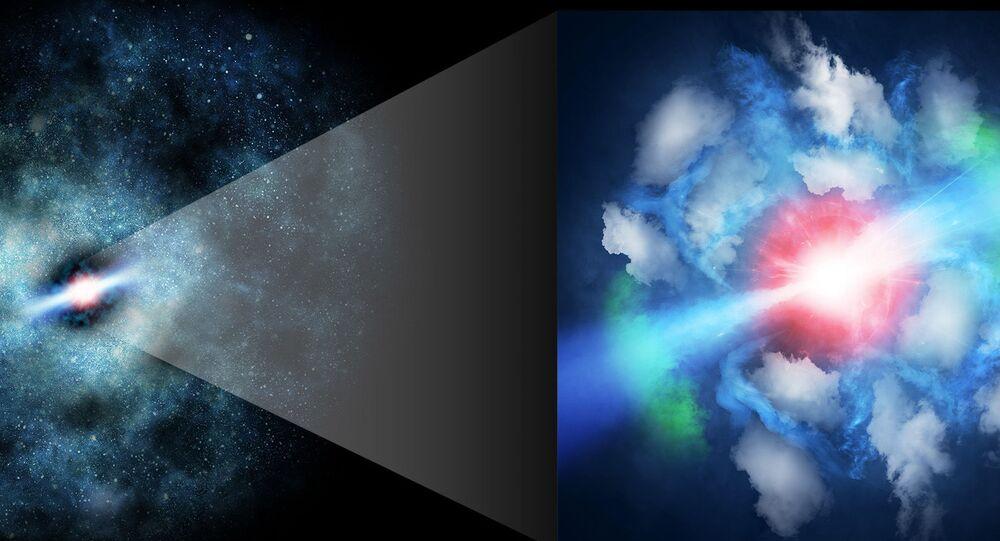 Representação artística do quasar MG J0414+0534