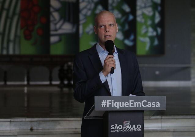 Prefeito Bruno Covas participa de coletiva sobre a COVID-19 no Palácio dos Bandeirantes