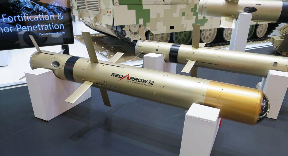 Míssil Red Arrow 12 na Exposição e Conferência Internacional de Defesa de 2017