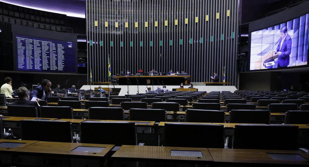 Plenário da Câmara dos Deputados em dia de votação não presencial.