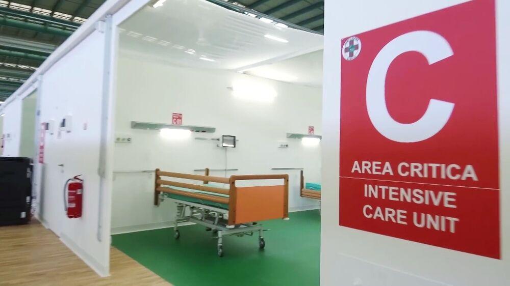 Unidade de tratamento intensivo do hospital de campanha de Bergamo, onde 200 especialistas russos e italianos irão prestar atendimento médico a doentes com a COVID-19 na Itália