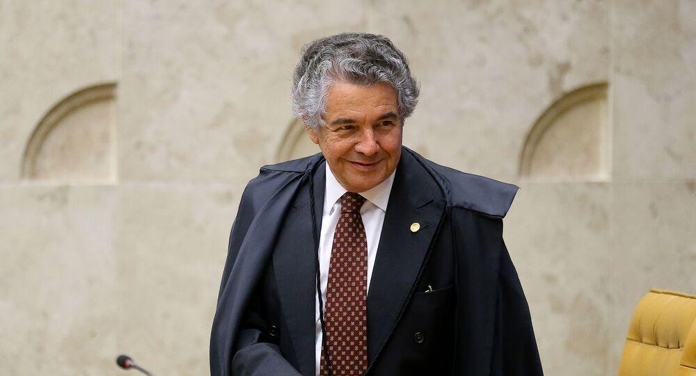 O ministro Marco Aurélio Mello em sessão no plenário do STF (Supremo Tribunal Federal).