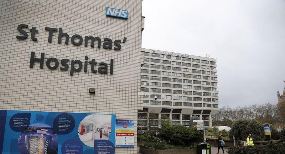 Hospital St.Thomas, em Londres, onde o primeiro-ministro Boris Johnson passa por tratamento para COVID-19.