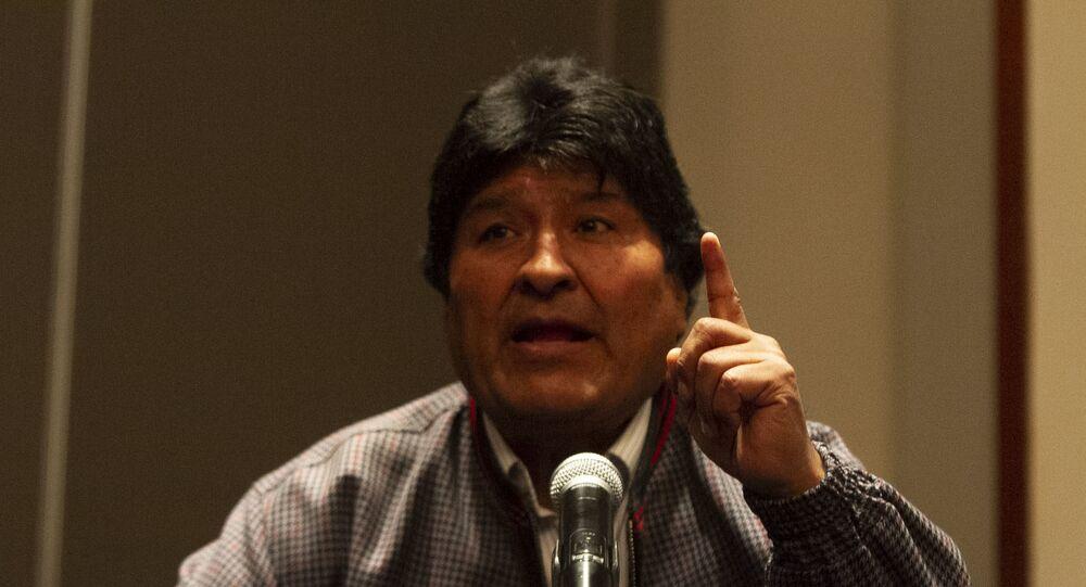 Evo Morales durante comitiva de imprensa no México em 2019 (foto de arquivo)