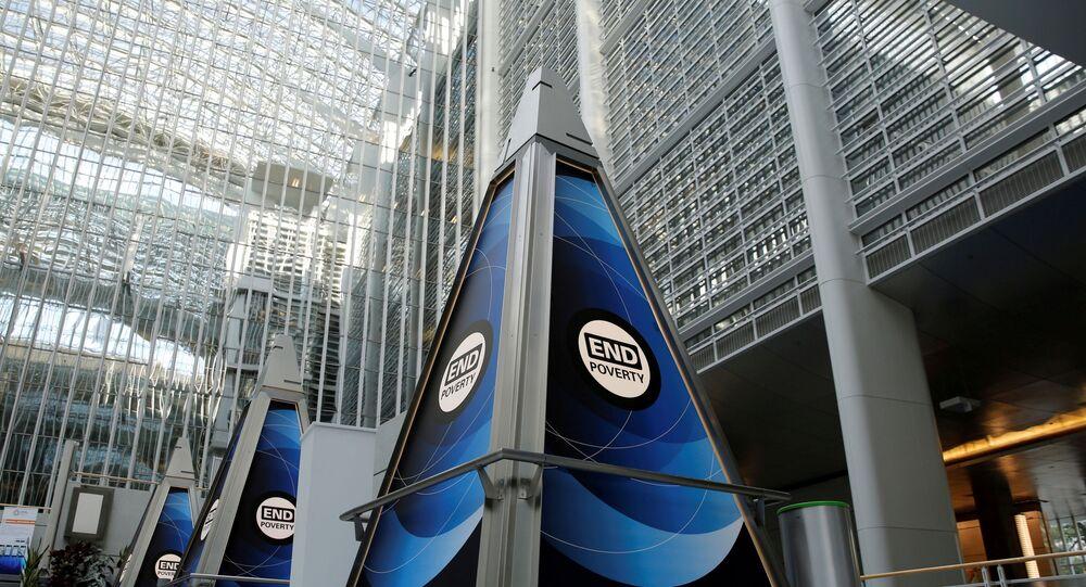 Átrio na sede do Banco Mundial em Washington, EUA (foto do arquivo)