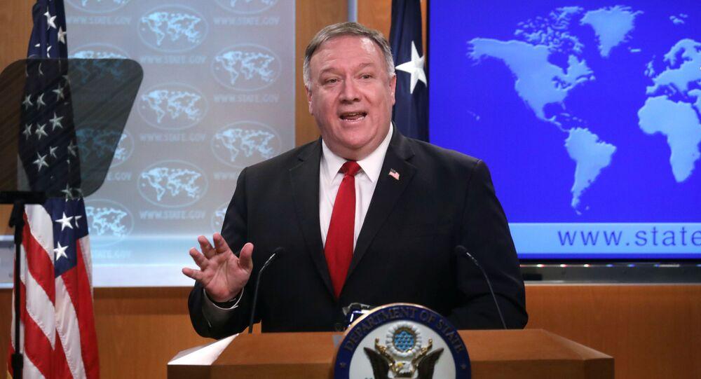 Secretário de Estado dos EUA Mike Pompeo fala em coletiva de imprensa (foto de arquivo)