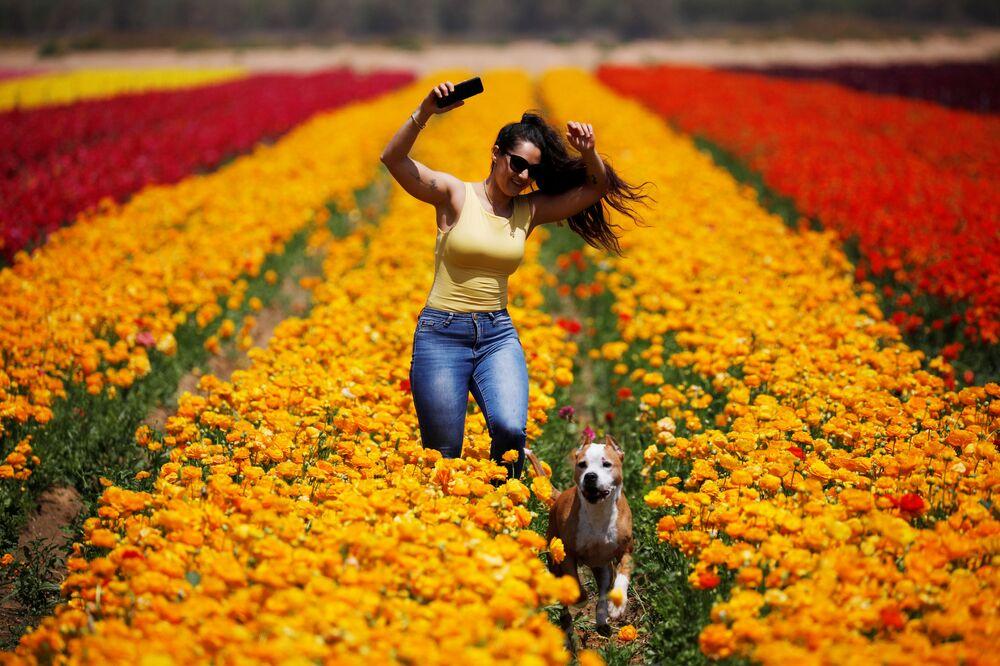 Mulher corre com cachorro por um campo de flores no sul de Israel, na proximidade da Faixa de Gaza, 14 de abril de 2020