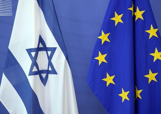 Bandeiras de Israel e da União Europeia (foto de arquivo)